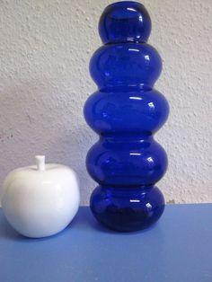 Tall art glass vase 60s 70s blue bubble design80 era Zalloni Strom Borgstroem