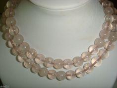 """Rose Quartz 24"""" Necklace Round Beads graduating elegant pale pink"""