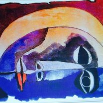This poster is imported from Ecuador. The artist is Oswaldo Guayasamin