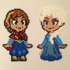 Anna and Elsa - Frozen hama beads by pixeleek