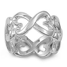 Trendy Inifinity Heart Band Sterling Silver Ring from annleighdesigns.com