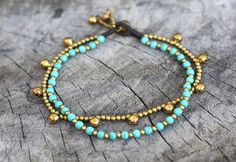 Hey, I found this really awesome Etsy listing at https://www.etsy.com/listing/84370785/turquoise-chain-layer-brass-anklet