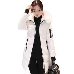 2bea7745ff76b Parka abrigos de invierno de Mujeres de algodón Casual de piel chaquetas  con capucha señoras invierno cálido Parkas mujer abrigo MLD1268