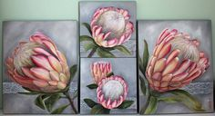 Commission piece, soft pink on a light grey background… Protea Art, Protea Flower, Flowers, Ceramic Painting, Painting On Wood, Painting Prints, Australian Native Garden, Art Addiction, Polychromos