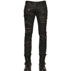 DIESEL BLACK GOLD 16cm Lightly Coated Stretch Denim Jeans ($288) via Polyvore featuring men's fashion, men's clothing, men's jeans, men and black