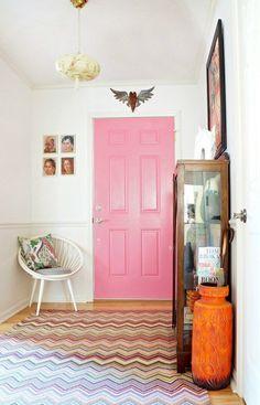 Pink door for entryway pizzaz