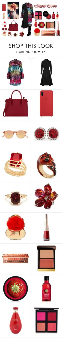 """""""Winter Spree"""" by chrismica on Polyvore featuring Miss Selfridge, Furla, Chimi, Allurez, Charter Club, Gucci, Other, Baccarat, Concrete Minerals and Urban Decay"""