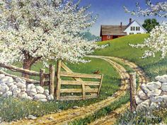 """""""'Spring Song' by John Sloane Landscape Art, Landscape Paintings, Belle Image Nature, Spring Song, Farm Paintings, Farm Art, Cottage Art, Spring Painting, Country Scenes"""