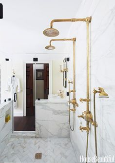 "Old-Fashioned Look [1750 New Jersey farmhouse] - ""White marble, dark wood, and unlacquered brass would remind you of Newport at the end of the 19th century - a very romantic period for architecture,"" says designer Bryan Joyce. 