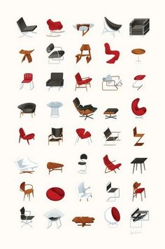mid-century modern furniture print by james provost