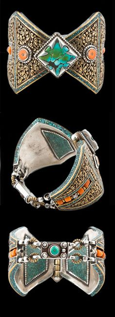 Nepal | Tibetan Silver Gilt Bracelet with Turquoise and Coral | Kathmandu.  ca. 1990