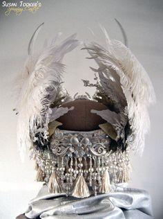 Winter White Antler Headdress Ritual Crown Snow Queen Costume