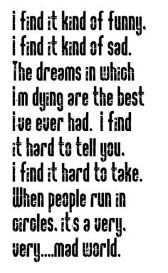 Gary Jules - Mad World - song lyrics, music lyrics, song quotes, music quotes, songs