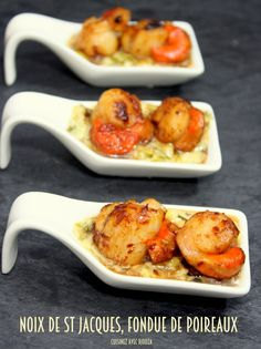 Noix de saint jacques fondue de poireaux Scallops with leek fondue Tapas, Seafood Recipes, Snack Recipes, Cooking Recipes, Fast Recipes, Bacon Recipes, Summer Recipes, Fingers Food, Brunch