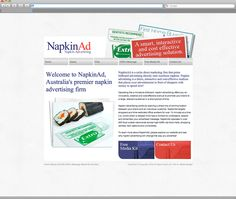 NapkinAd Web Design -  The result is an entertaining website design that clearly shows NapkinAd's customers what is possible when they team up with NapkinAd to exploit this alternative advertising medium.