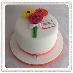 Bright Gerbera ladies birthday cake. ~ladiesbirthdaycake #gerbera #gerberacake