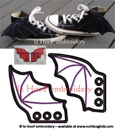 4x4 5x7 BAT DRAGON Shoe Wings Machine Embroidery In-The-Hoop Design Goth Costume…
