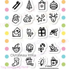 Planner icon stamps for Christmas. Use them to decorate envelopes, help with meal planning, note when to send cards, or use in card making and
