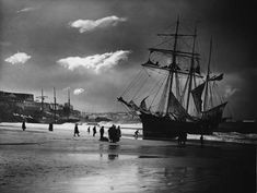 The schooners Mary Barrow and Lizzie R Wilce beached on Porthminster Beach in St Ives during January storms of 1908. Cornwall