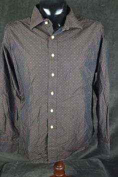 Rufus Mens XL LSBF Black to Copper Flip Flop Blue Dotted Shirt Made in USA #Rufus