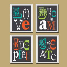 Dark Navy Turquoise Green Orange Love Dream Inspire Create Colorful Quote Print Typography Artwork Set of 4 Prints WALL Decor ART Pictures on Etsy, $33.00