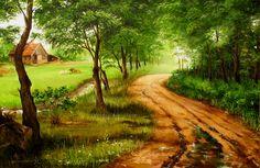 Schilderij van een Brabants landschap