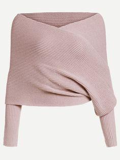 Off shoulder wrap sweater