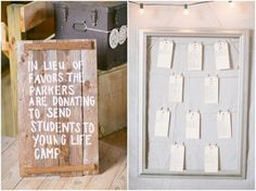My husband and I are SOOOO doing this at our wedding!!!! In lieu of favors we'll donate for kids to go to YoungLife camp!