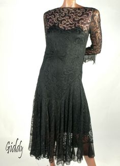Sophisticated 1930s Black Lace Dress