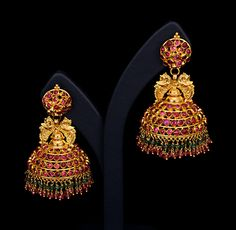 gold and gemstones temple bell earrings (vummidi.com)