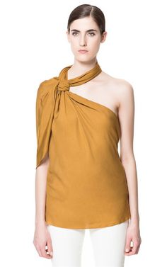 ASYMMETRIC TOP WITH KNOT NECKLINE - Tops - Woman   ZARA United States