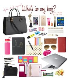 """Sophia Smith inspired: What's in my bag? College Edition"" by alwayswearwhatyouwanttowear ❤ liked on Polyvore featuring H&M, Kate Spade, Eos, Lord & Berry, Yves Saint Laurent, Ray-Ban, Burberry, Tangle Teezer, Harrods and ASOS"