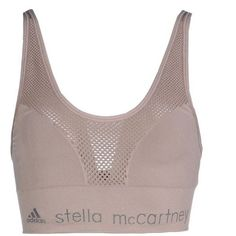 Adidas By Stella  Mccartney Bra (88 CAD) ❤ liked on Polyvore featuring activewear, sports bras, tops, bras, sport, underwear, dove grey, adidas, sports bra and adidas sports bra
