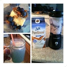 By far one of the best smoothies I have made! Banana, granola, almonds, blueberries, vanilla almond milk and ice! #delicious #smoothie