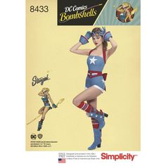 This DC Comics Bombshell pin-up inspired Stargirl shows a unique twist on the DC Comics collection. Misses' romper has a star on the front and back-tie belt. DC Comics for Simplicity Cosplay sewing patterns.