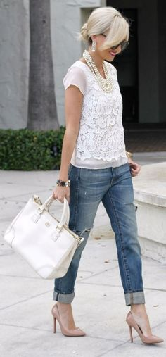 Have all these pieces..they look great together. Lace top, cuffed jeans, white bag, heels.