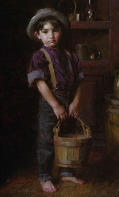 """Jack's Pail"", by American artist - Morgan Weistling - ), Oil on canvas, x Light Painting, Painting For Kids, Morgan Weistling, Drawing Body Proportions, Found Art, Old Paintings, Art Themes, Artist Art, American Artists"