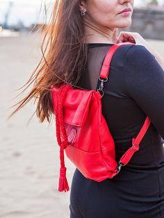 RED Backpack & Messenger Leather bag /Leather bag by MadamEliseeva