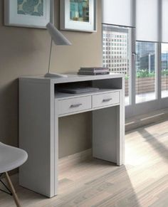 Gloss Dressing Table White Office Furniture Drawer Console Dresser Computer Desk #JAFFO #Contemporary