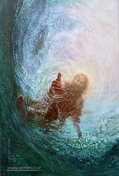 "Christ pulls Peter out of the water:  Then Peter got down out of the boat, walked on the water and came toward Jesus. But when he saw the wind, he was afraid and, beginning to sink, cried out, ""Lord, save me!""  Immediately Jesus reached out his hand and caught him. ""You of little faith,"" he said, ""why did you doubt?""  And when they climbed into the boat, the wind died down.Then those who were in the boat worshiped him, saying, ""Truly you are the Son of God."""
