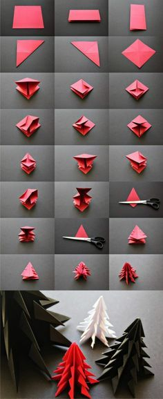 Trendy Ideas For Origami Christmas Decorations Tutorials Diy Crafts Origami Christmas Tree, Noel Christmas, Christmas Ornaments, Origami Xmas, Origami Ornaments, Snowflake Origami, Danish Christmas, Xmas Trees, Paper Ornaments