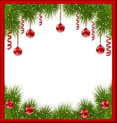 Christmas PNG Transparent Frame with Red Ornaments