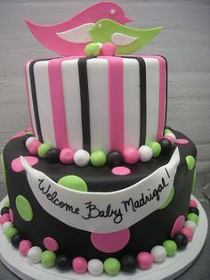stripes and polka dots baby shower cake  - different colors but the look is CUTE!