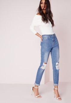 70ff907898c37 Jean slim troué bleu délavé Riot Jean Rose, Blue Jeans Déchirés, Jeans Pour  Femme