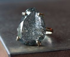 Tourmalated Quartz Ring in 14kt Gold and Sterling by LexLuxe, $245.00