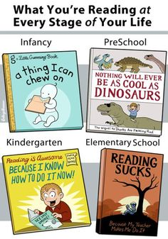 Actually, I have always loved reading, so I hate the elementary one here saying that reading sucks. I read alot of classics and Shakespeare when I was in elementary school. I Love Books, Books To Read, Library Humor, Education Major, Schools First, Fiction And Nonfiction, Writing Words, College Humor, Children's Book Illustration