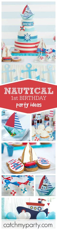 An adorable nautical themed 1st birthday party for a little boy. The cake pops…