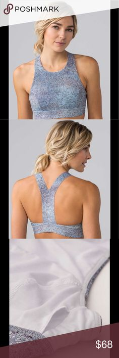 NWT Lululemon Fast & Free Bra Summer Haze Feel supported—and secure—whether you're doing burpees, push-ups, or running in this bra thanks to its high neckline. We made it using our super soft, sweat-wicking, and four-way stretch Nulux™ fabric so the high coverage feels luxurious against your skin. The slim racerback gives your shoulders full range of movement. Slip in optional, removable cups for additional coverage—if you want it. This bra is intended to provide medium support for…