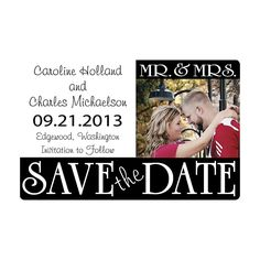 Customized Mr. & Mrs. Save The Date Photo Magnets - OrientalTrading.com  $40 per 24 pieces