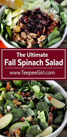 This ultimate fall spinach salad is packed with yummy goodness! The soft cheese, crisp apples, sweet walnuts, and flavorful cranberries, combined with the maple dressing, makes this salad a favorite for kids and adults. Get the recipe at www.TeepeeGirl.com
